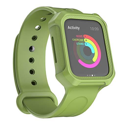 Verde Militare Custodia Protezione Morbida Apple Watch Serie 5 Serie 4 con Cinturino 44mm Sport Fibra di Carbonio Cover Apple Watch 5 Morbida Confortevole Custodia Integral per iWatch Serie 5/4 44mm