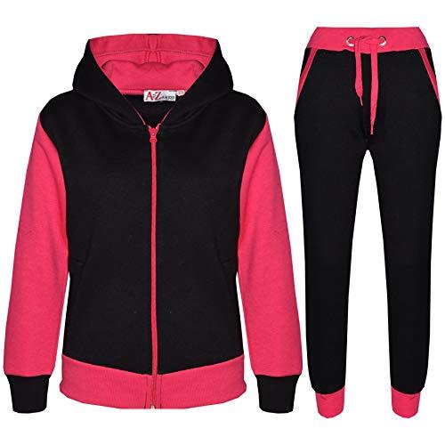 A2Z 4 Kids® - Survêtement pour fille - Sweat à capuche et pantalon en polaire contrastée - pour fille de 2 à 13 ans, Rose fluo uni - Rose - 11 ans
