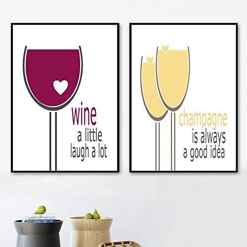 Wijn Champagne Goblet Quotes, Wall Art Canvas Schilderij Posters en Afdrukken, Muurfoto's voor Woonkamer Keuken Wanddecoratie 60x80cmx2 Geen Frame