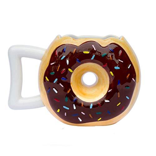 Comfify Taza de Donut de cerámica - Deliciosa Taza de Donut con glaseado de Chocolate con chispas - Divertido MMM Donuts! Cita - La Mejor Taza para café, té y más - Tamaño Grande de 14 oz