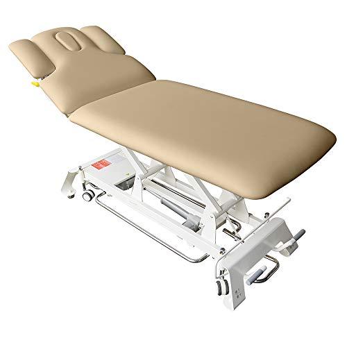 Elektrische Massageliege Houston Höhenverstellbare 2 Zonen Profi Behandlungsliege ca. 198 x 74 cm Kosmetikliege Therapieliege mit vielen Extras (Mokka Beige)