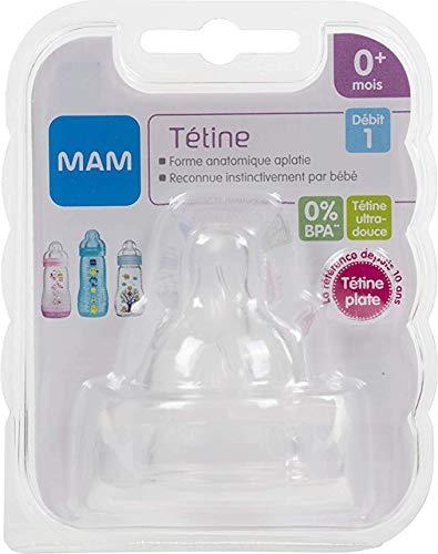 MAM - Tettarelle in silicone a flusso lento, confezione da 2 pezzi, età 0 m+ senza BPA (flusso lento)