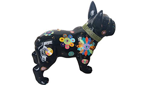 Statue of French Bulldog Ceramic Laure Terrier Decoration. Height 11,8 inches. Model Flowers
