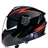 RMBDD Casco Moto Bluetooth Integrato Flip Up Full Face Casco Moto Modulare Omologato DOT/ECE con Doppia Visiera Lenti Anti-UV e Anti-Attrito Anticollisione Casco per Uomo e Donna Adulti
