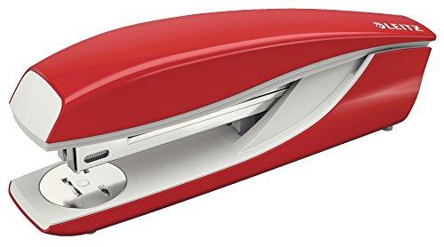Leitz Büroheftgerät aus Metall, Für 40 Blatt, Inkl. Heftklammern, Ergonomisches Design, Rot, NeXXt-Serie, 55040025