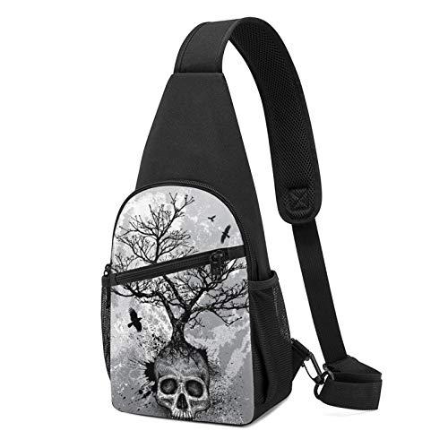 Sling Bag for Men Anti-Theft Shoulder Backpack Creative Skull Black Cool Eagle Chest Bags Adjustable Crossbody Lightweight Daypack Outdoors & Gym