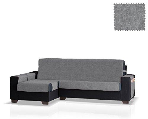 Funda de sofá Chaise Longue Larissa Brazo Izquierdo, Tamaño Normal (245 Cm.), Color Gris