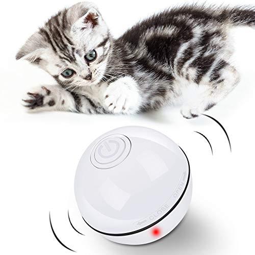 DIAOPROTECT Katzenspielzeug Elektrisch Ball,Automatische Selbstdrehender 360-Grad-Ball,USB Wiederaufladbares Interaktives Katzenspielzeug Ball,Elektrisch Katzenball mit LED-Licht für Kätzchen (Weiß)