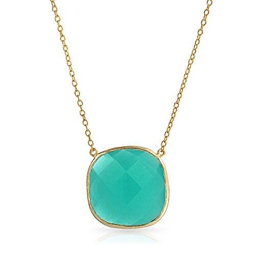 Bling Jewelry Teal Verde Moldura De Piedra Facetada Collar Colgante Cuarzo Calcedonia Simulado para Mujer Chapado En Oro De 14K