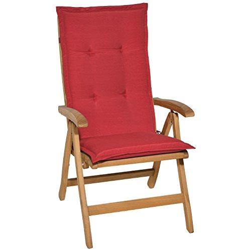 Beautissu Loft HL - Cojín para sillas de balcón o Asiento Exterior con Respaldo Alto - 120x50x6 cm - Placas compactas de gomaespuma - Rojo
