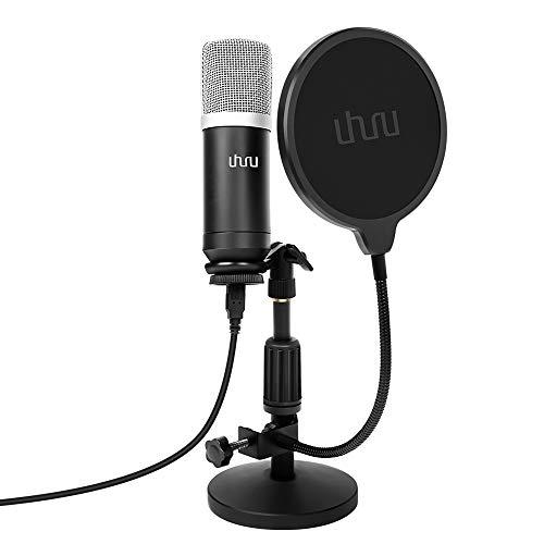 USB PC Podcast Mikrofon, UHURU Professionelle 192KHZ/24Bit Aufnahme Kondensator Mikrofon Kit mit Tischständer, (UM940, Black)