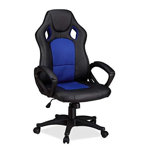 Relaxdays Gaming Stuhl XR9, Zocker Drehstuhl, bequemer Chefsessel m. Höhenverstellung, Racing Design, schwarz-blau