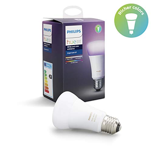 Philips Lighting  White and Color Ambiance Lampadina LED Singola, E27, 9.5 W, senza Bridge, Argento, 1 Pezzo