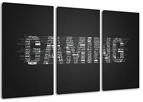 Gaming Schriftzug Format: Dreiteiler Gesamt 120x80, Bild auf Leinwand bespannt, riesige XXL Bilder komplett und fertig gerahmt mit Keilrahmen, Kunstdruck auf Wand Bild mit Rahmen, günstiger als Gemälde oder Bild, kein Poster oder Plakat