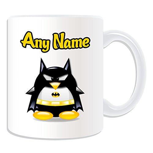 Personalizado RegaloTaza de Batman (pingino), diseo de personaje Tema, Blanco)Cualquier Nombre/Mensaje en tu nicoDisfraz Movie Superhero hroe Avengers de Marvel Comics Bruce Wayne
