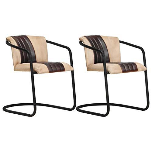 vidaXL 2X Esszimmerstuhl Freischwinger Schwingstuhl Stuhl Set Polsterstuhl Stühle Küchenstuhl Essstuhl Wohnzimmerstuhl Lederstuhl Braun Echtleder