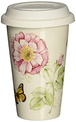Pink Flower And Butterfly Travel Tumbler