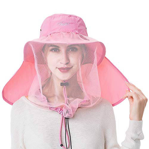 Palmyth Mosquito Head Net Hat Safari Hiking Fishing Hats Sun Protection Water Repellent Bucket Boonie Hats with Removable Neck Flap Hidden Net UV UPF 50+ from Bug Insect for Men Women Outdoor (Pink)
