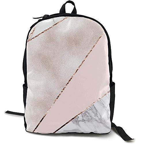 Backpack,Mochila De Mármol De Oro Rosa Mixto Empalmado Mochilas Atractivas para Niños...