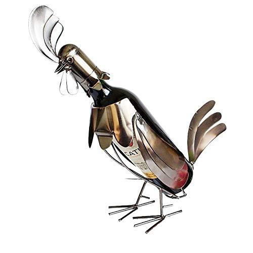 Nologo ZWJ-JJ Eisen Hahn Styling Weinregal Wein Weinregal Rack Möbel Ornament Dekoration Eisen Weinregal Weinflaschenhalter Wein Container Wohnkultur Eisen-Fertigkeit-Geschenk-Handwerks-Verzierung