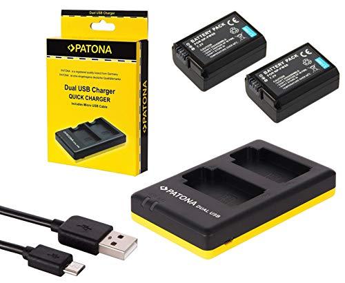 Sony Alpha 6000 6300 6500 Zubehör SET mit 2 Ersatzakkus und USB Dual Ladegerät kompatibel mit Sony Akku NP-FW50
