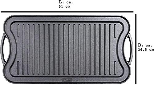 41VSTLHX YS. SL500  - Grillplatte Für PRO/RED Serie Wendeplatte Gusseisen Pizzaplatte Grill-Zubehör Grillaufsatz Geriffelte Glatte Mit 2 Griffen Fläche Verwendbar, Gasgrill Massive Grillpfanne,A