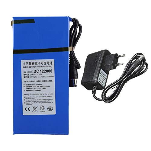 Garsent Batteria al Litio Ricaricabile, 20000 mAh Batteria al Litio Polimeri di Grande capacità Interruttore on/off Incorporato per Telecamera Senza Fili, TV LCD per Auto(EU Plug)