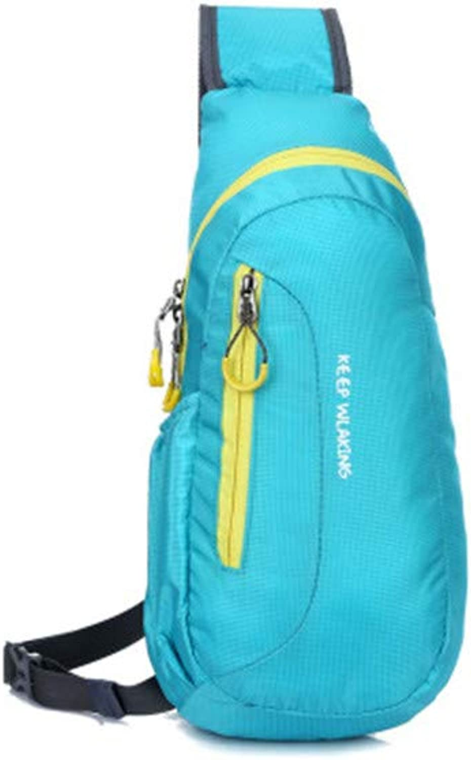 New Chest Bag Outdoor Sports Shoulder Bag Outdoor Sports and Leisure Single Backpack Travel Chest Bag,Lightblueee