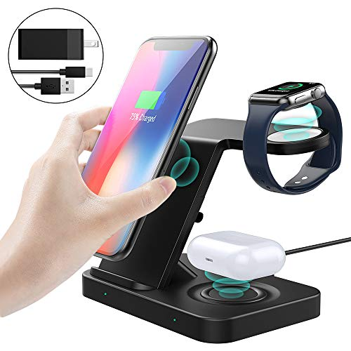 MoKo 5 in 1 Wireless Charge Stand, 10W Fast Charging Dock Station Triple Spots for iPhone/Apple Watch Series 5/4/3/2/Airpods 2/Pro, Galaxy Watch 42/46mm/Active/Gear S3/Note/S10, All Qi Enabled Devices