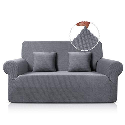 TAOCOCO Sofa Überwürfe Jacquard Sofabezug Elastische Stretch Spandex Couchbezug Sofahusse Sofa Abdeckung in Verschiedene Größe und Farbe (Hellgrau, 2-sitzer(139-175cm))