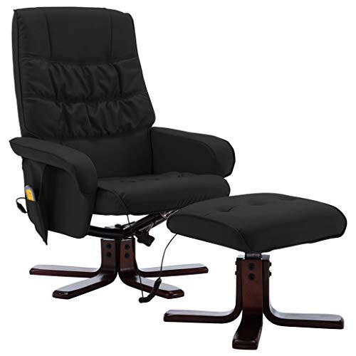 vidaXL Sillón Reclinable con Reposapiés Respaldo Ajustable Silla Asiento Salón Oficina Relax Mueble Elevador Ergonómico Cómoda Cuero Sintético Negro