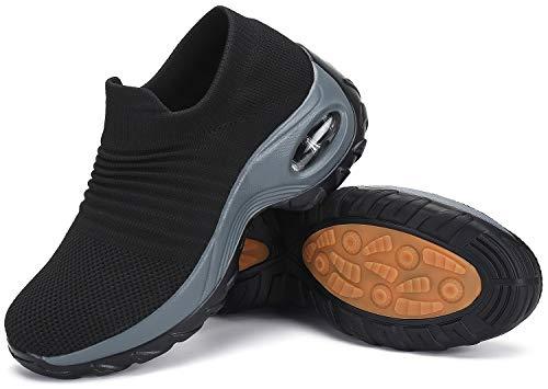 Zapatillas para Caminar Mujer Zapatos Deportivos Running Fitness Correr Casual Sneakers Plataforma Ligero Comodos Transpirable St.1 Negro 39 EU, 263 talla fabricante