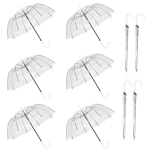 WASING 10 Pack 46 Inch Clear Bubble Umbrella Large Canopy Transparent Stick Umbrellas Auto Open Windproof with White European J Hook Handle Outdoor...
