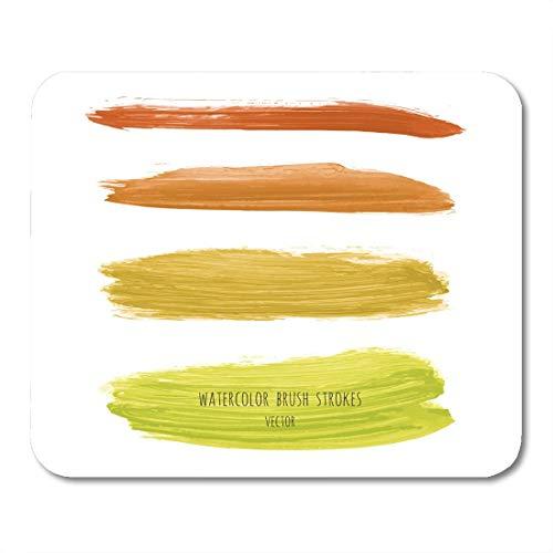 Gele Goudstang Chartreuse Mosterd Aquarel Hand Gradient Strepen Wit Acryl Droog Bruish Vlekken mouses pad Mousepad