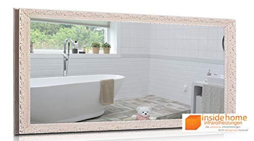 Insidehome | Infrarotheizung Spiegel VINTAGE | Stilholz - Rahmen in Weiss | hochwertige Spiegelheizung | deutscher Hersteller | 700 Watt - 120 x 60 x 3 cm