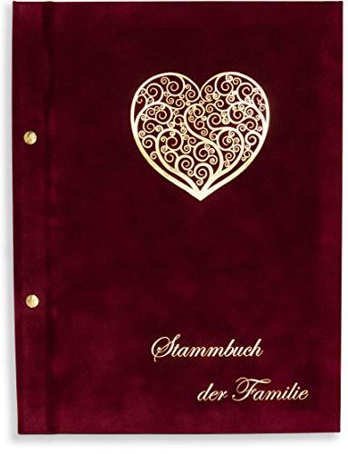 A4 Stammbuch Wona Weinrot Stammbuch der Familie für Hochzeit Standesamt incl. 11 Prospekthüllen