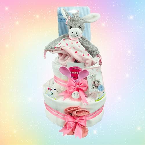Windeltortenfee.de® - Windeltorte Mädchen Sterntaler Schmusetuch Emmi 3 Etagen- inkl. 42 Pampers Windeln   Geschenk zur Geburt   Taufgeschenk   Geschenk zur Babyparty (3 Etagen)