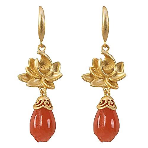 Pendientes de jade natural para mujer, estilo chino, estilo retro, loto, joyería de moda