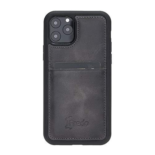 FREDO Funda de piel compatible con iPhone 11 Pro de 5,8 pulgadas, Reflex, ultrafina, con tarjetero para Apple iPhone 11 Pro, funda hecha a mano, color gris