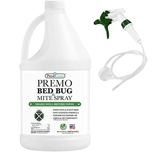 Bed Bug & Mite Killer Spray By Premo Guard 128 oz – Fast Acting Bed Bug Treatment – Stain & Scent Free – Child & Pet Safe – Best Extended Protection – Natural & Non Toxic Formula