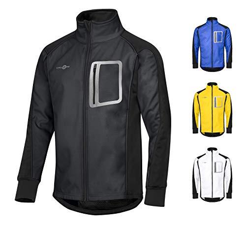 CYCLEHERO Winddichte Fahrradjacke wasserdicht atmungsaktiv reflektierend Softshell Jacke Outdoorjacke (Schwarz, XL)