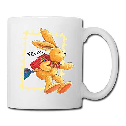 Felix Der Hase Huepft Mit Schulranzen Tasse, Weiß