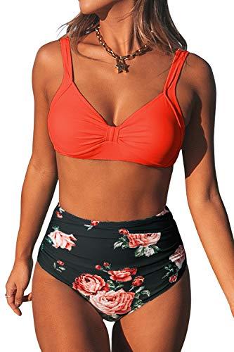 CUPSHE Femme Bikini Coeur Décolleté Taille Haute Imprimé Florale Maillots de Bain 2 Pièces Orange/Noir L