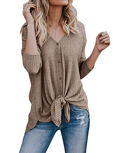 VEIMEILI Womens Knit Tunic Blouse Tie Knot Henley Tops Loose Fitting Bat Wing Plain Shirts