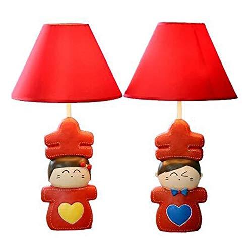 SQQSLZY Un par de mesa sencillo y moderno lámparas con lámparas regulables de noche rojo