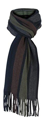 Giovanni Cassini - Herren italienisch inspirierte Streifen Winter Schal (Scarf) (Grün / Braun)