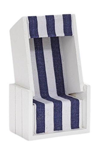Deko-Strandkorb, ca. 12 x 7 x 4,5 cm Blau/Weiß
