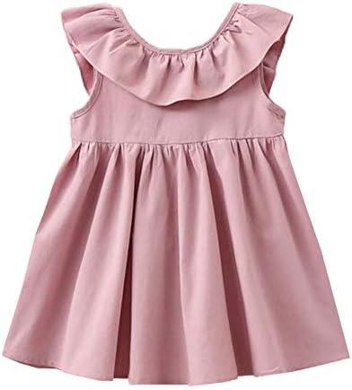 GSVIBK Toddler Baby Girls Cotton Dress Swing Casual Sundress Sleeveless Tunic Dresses 385 Pink product image