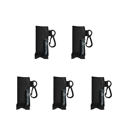Beautyflier Pack of 5 Clip-on Sleeve Chapstick Pouch Keychain Lipstick Holder Elastic Lip Balm Holder Travel Accessories (Black)