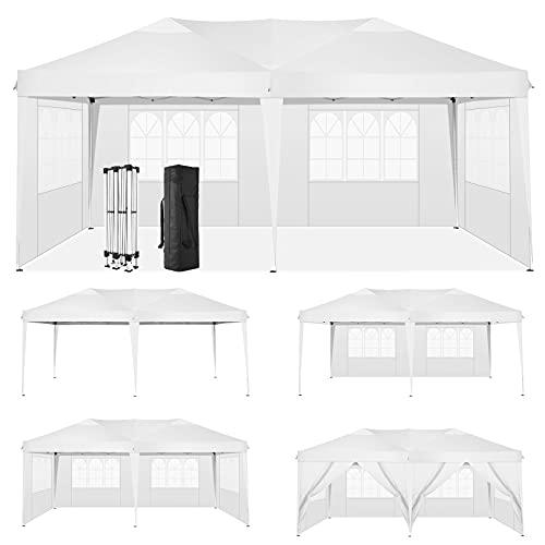 HOTEEL 3x6 Carpa Impermeable Cenadores para Jardin Carpas Plegables Cenador Plegable con 6 Paneles Laterales y Bolsa Transporte (3x6M, Blanco)